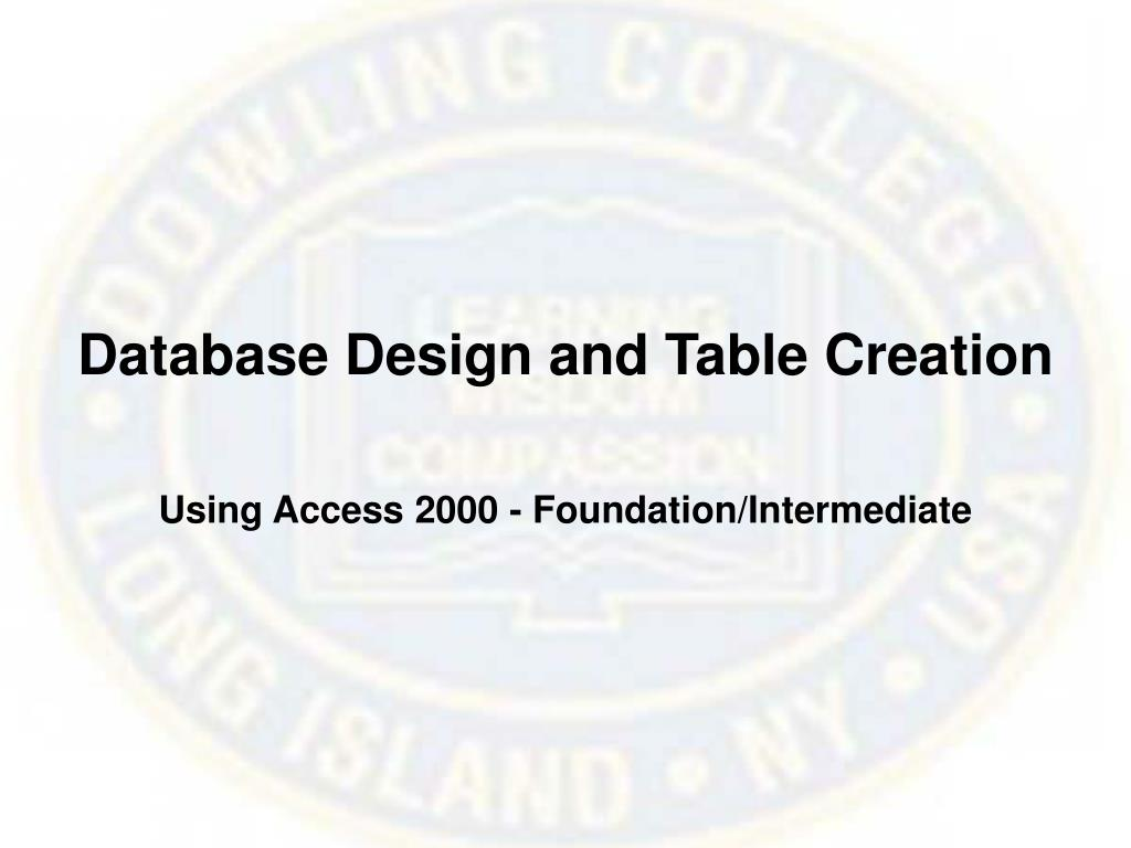 Database Design and Table Creation