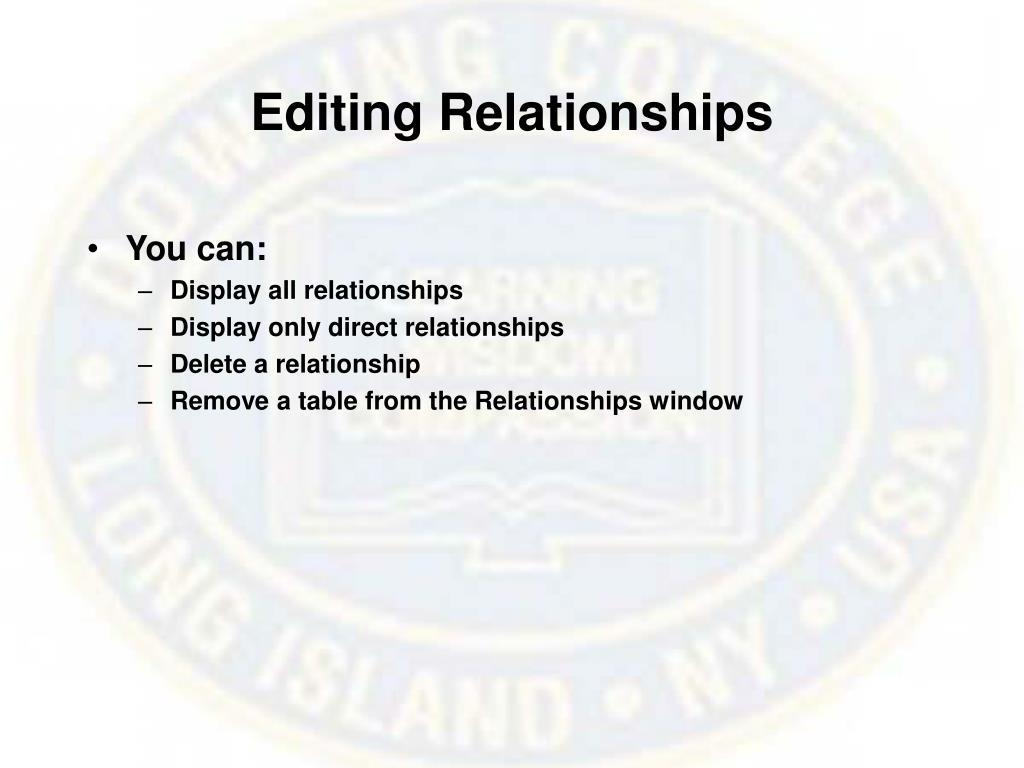 Editing Relationships