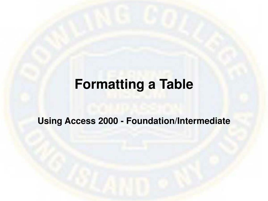 Formatting a Table