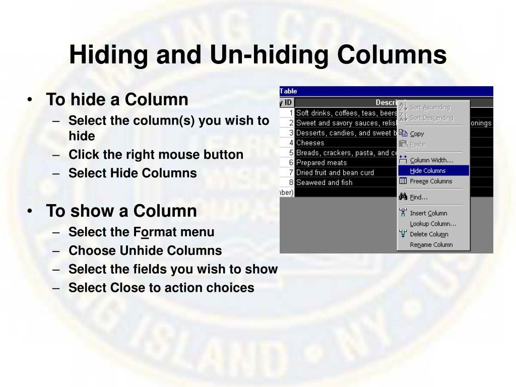 Hiding and Un-hiding Columns