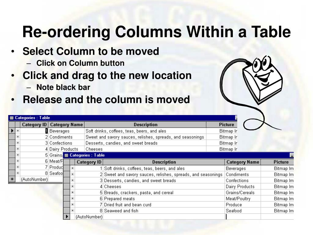 Re-ordering Columns Within a Table