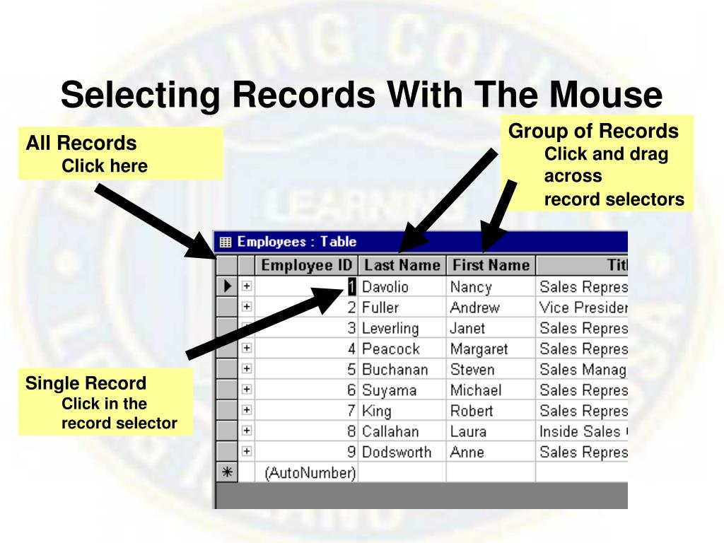 Selecting Records With The Mouse