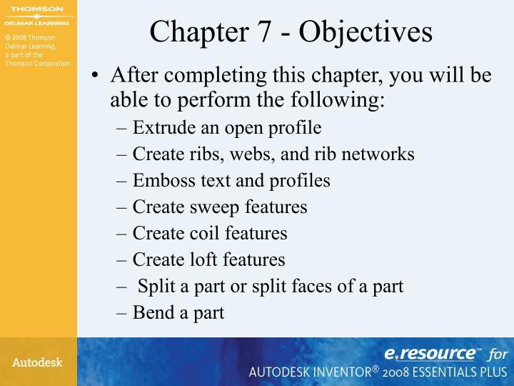 Chapter 7 objectives