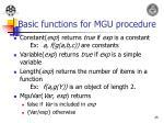 basic functions for mgu procedure