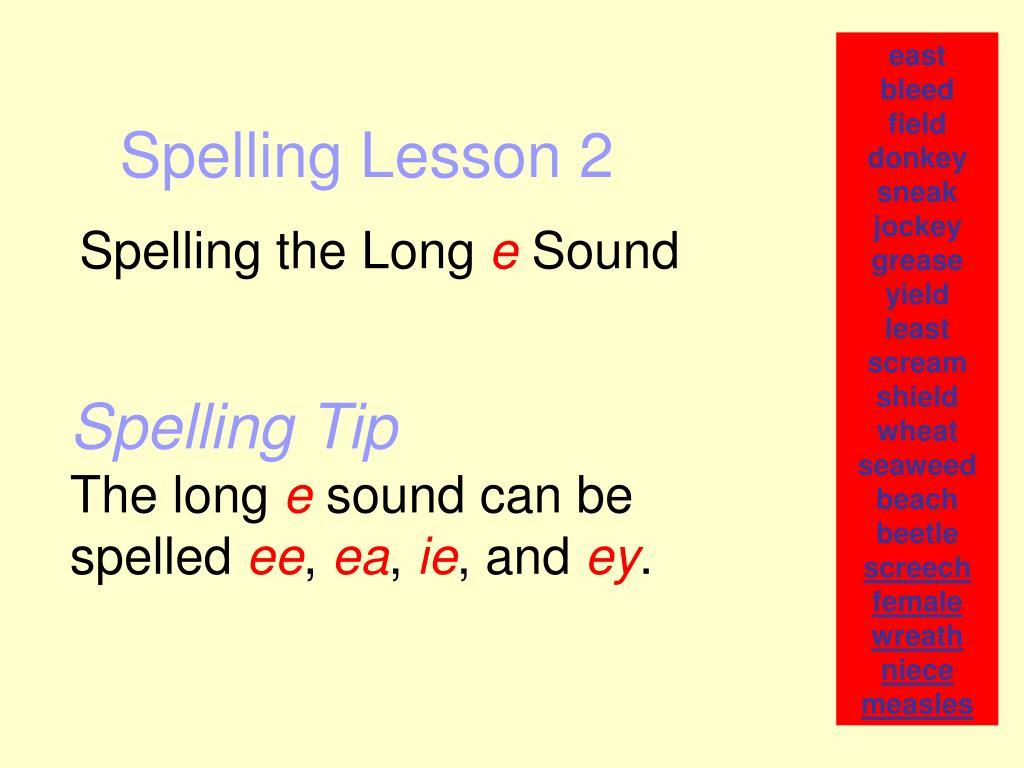 spelling lesson 2 l.