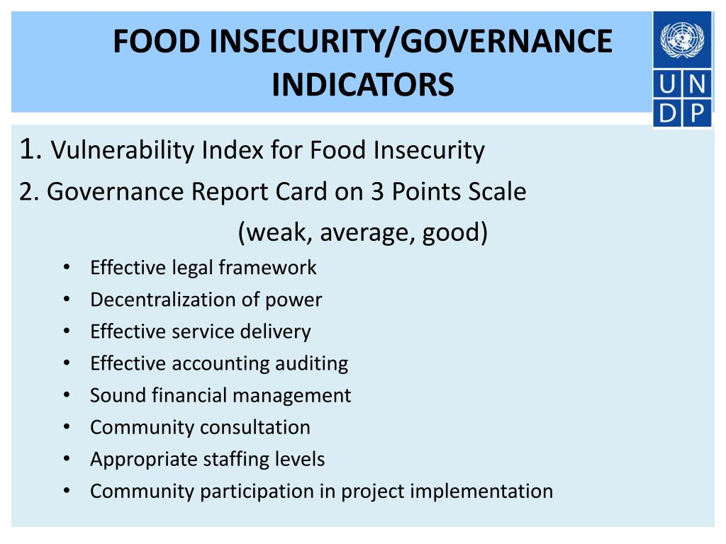 FOOD INSECURITY/GOVERNANCE INDICATORS