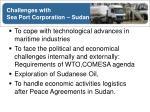 challenges with sea port corporation sudan