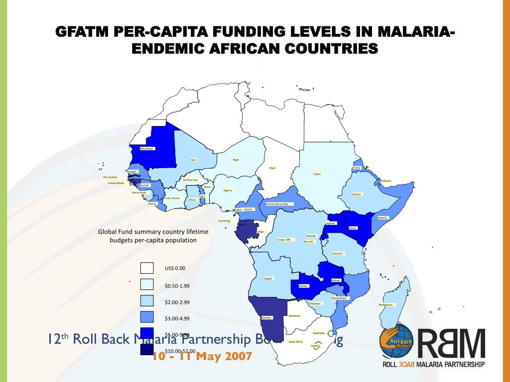 GFATM PER-CAPITA FUNDING LEVELS IN MALARIA-ENDEMIC AFRICAN COUNTRIES