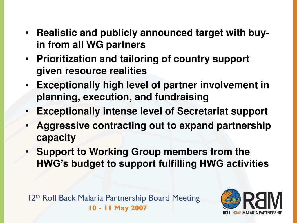 Realistic and publicly announced target with buy-in from all WG partners