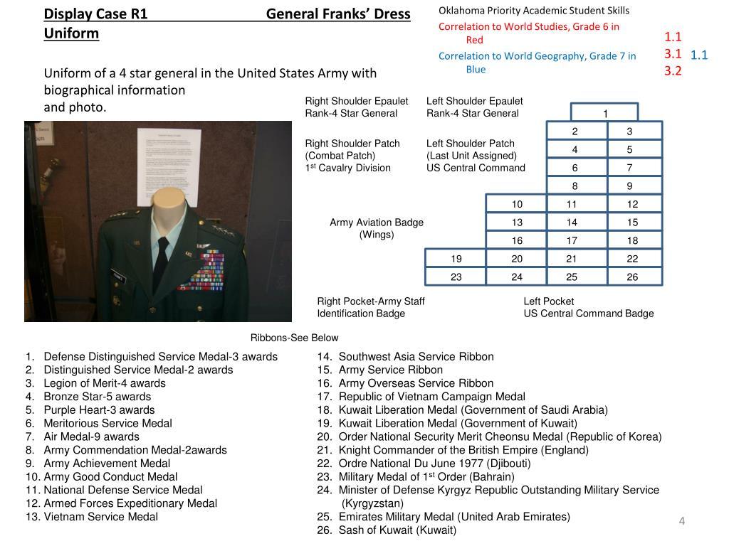 Display Case R1  General Franks' Dress Uniform