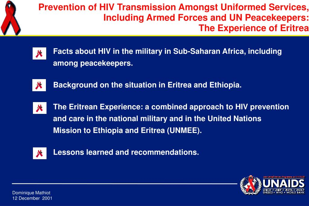 Facts about HIV in the military in Sub-Saharan Africa, including among peacekeepers.
