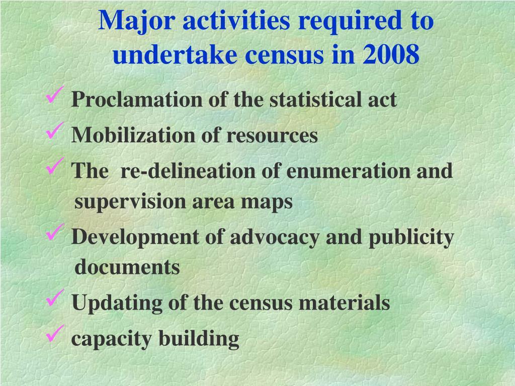 Major activities required to undertake census in 2008
