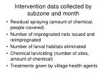 intervention data collected by subzone and month