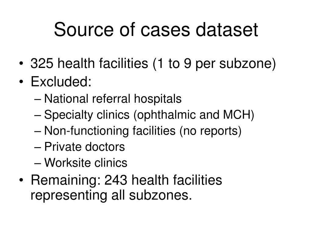 Source of cases dataset