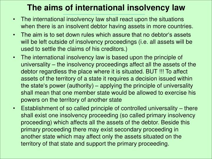 The aims of international insolvency law