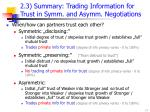 2 3 summary trading information for trust in s ymm and a symm negot iation s