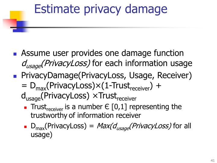 Estimate privacy damage