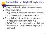 formulation of tradeoff problem 1