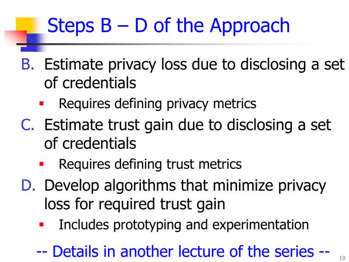 Steps B – D of the Approach