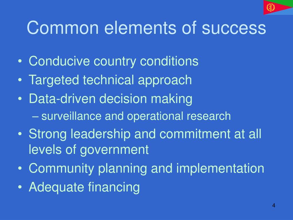 Common elements of success