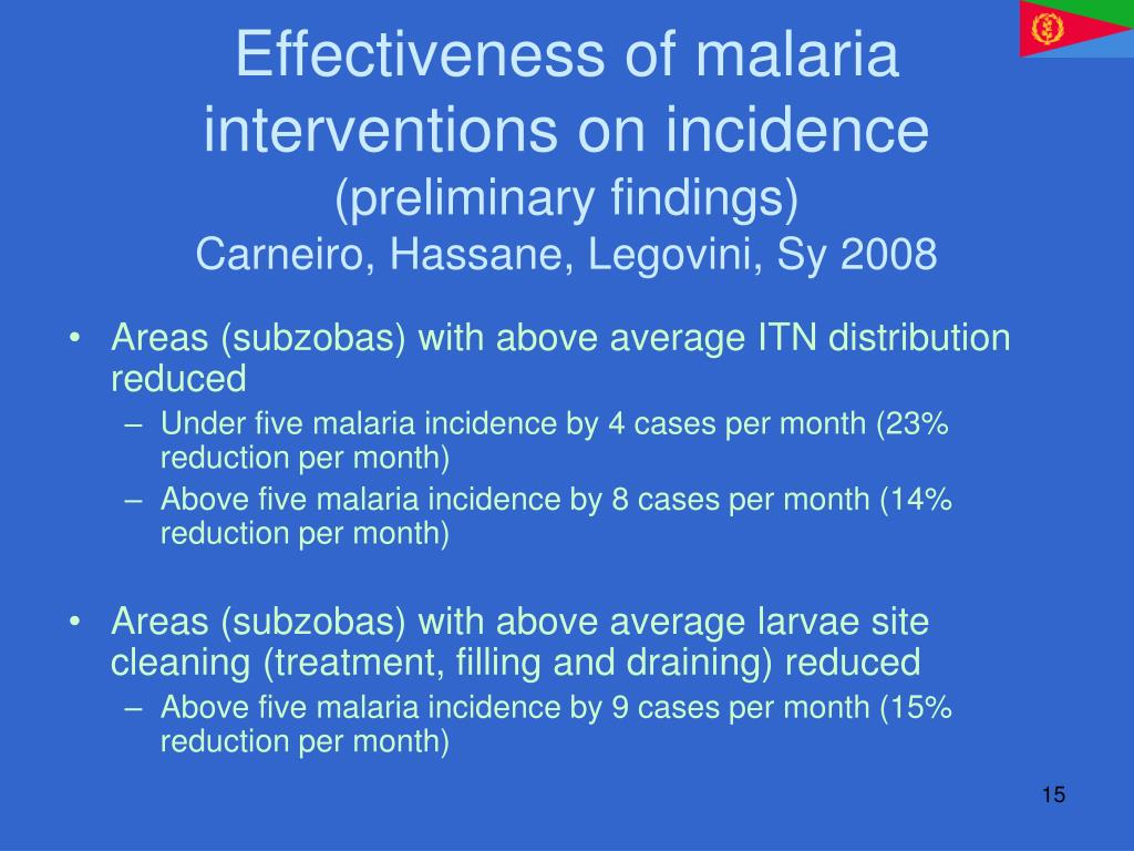 Effectiveness of malaria interventions on incidence