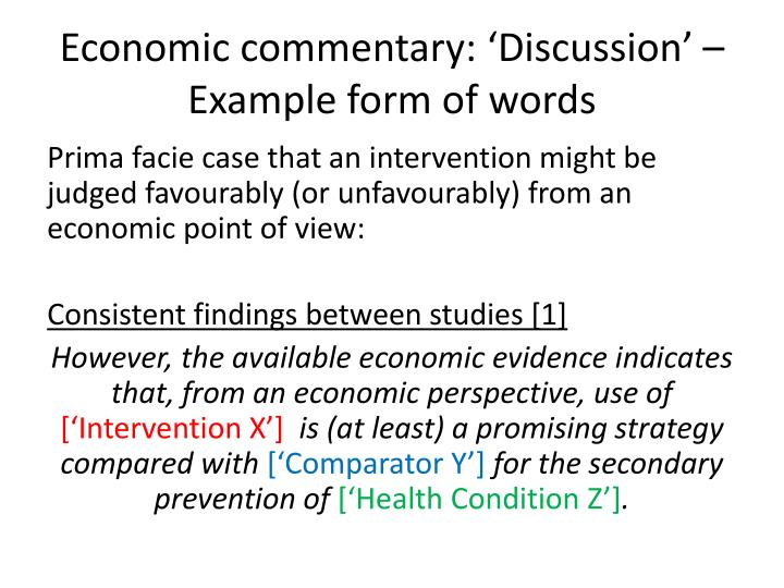 Economic commentary: 'Discussion' – Example form of words