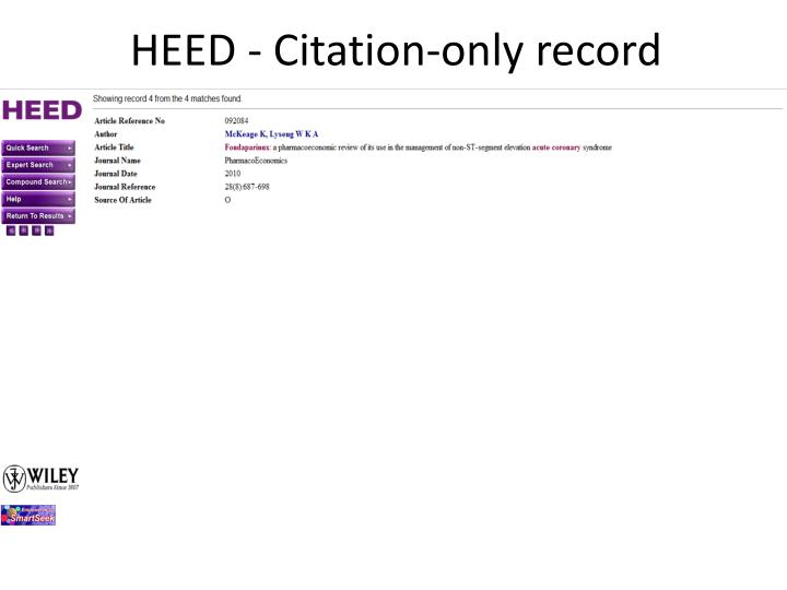 HEED - Citation-only record