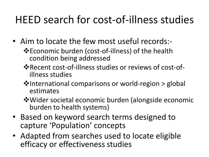 HEED search for cost-of-illness studies