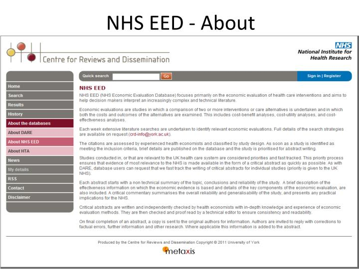 NHS EED - About