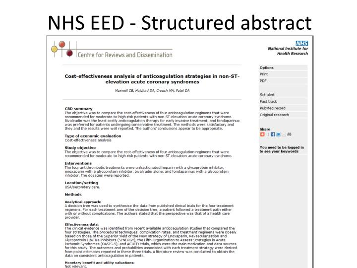 NHS EED - Structured abstract