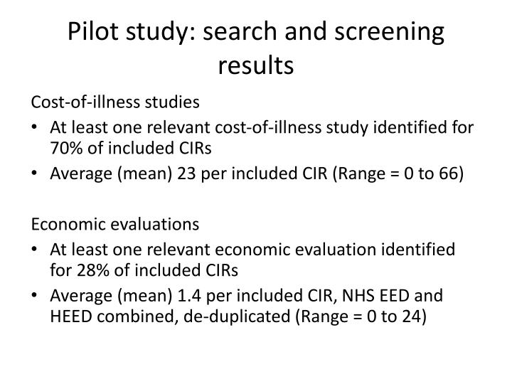 Pilot study: search and screening results