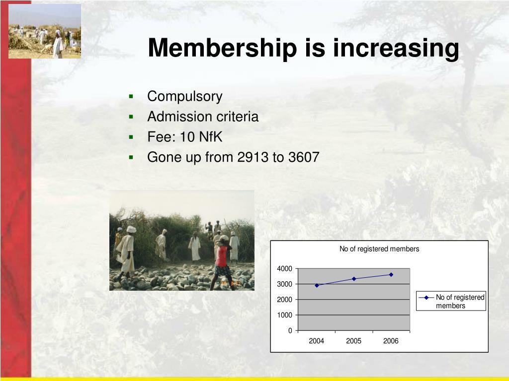 Membership is increasing