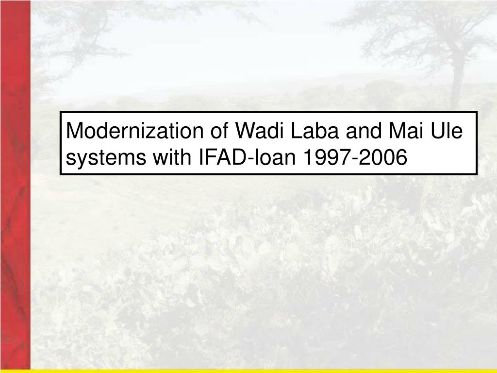 Modernization of Wadi Laba and Mai Ule systems with IFAD-loan 1997-2006