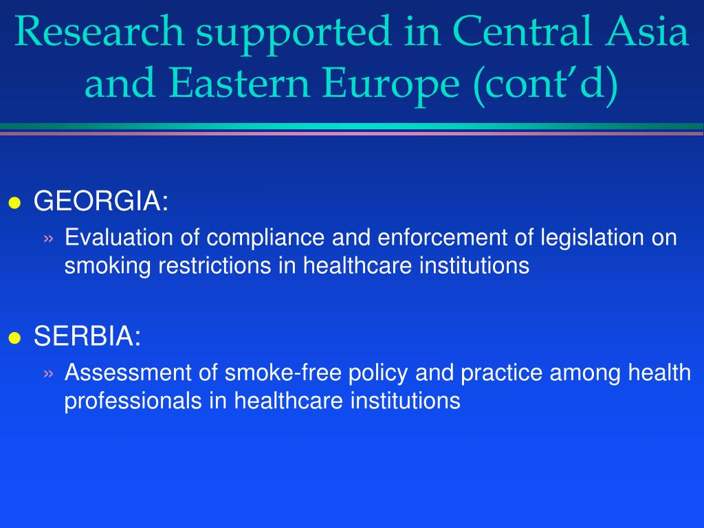 Research supported in Central Asia and Eastern Europe (cont'd)