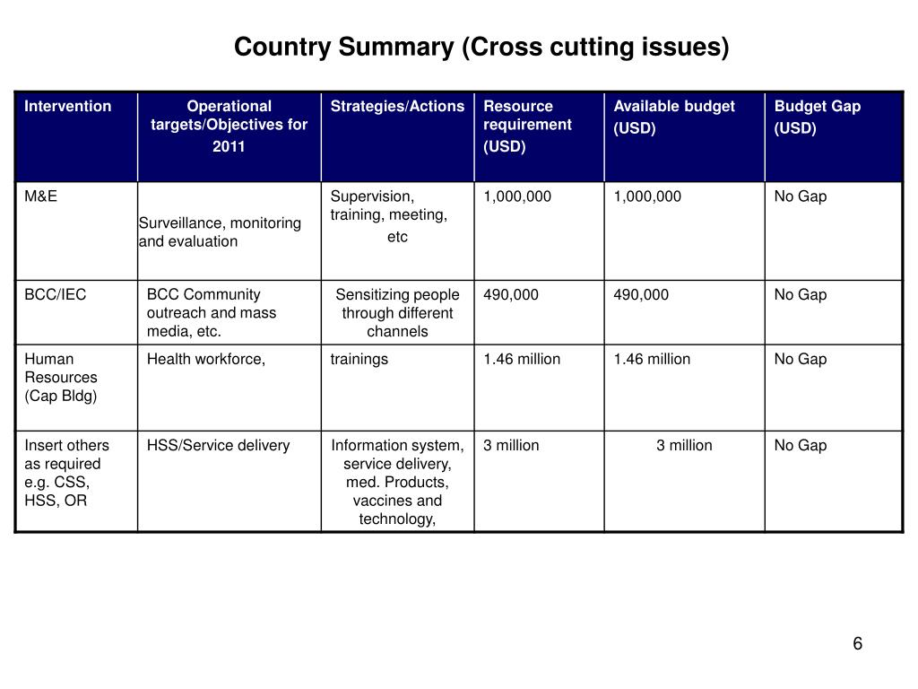 Country Summary (Cross cutting issues)