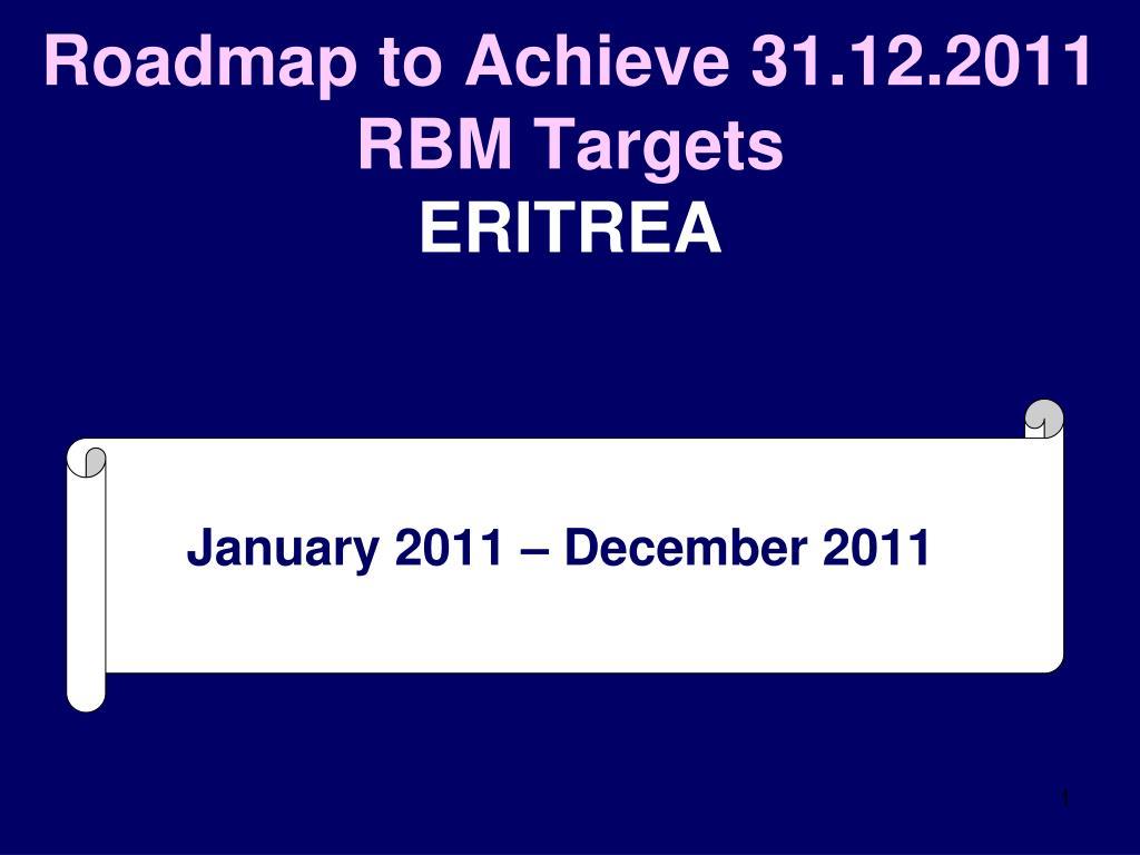 Roadmap to Achieve 31.12.2011 RBM Targets