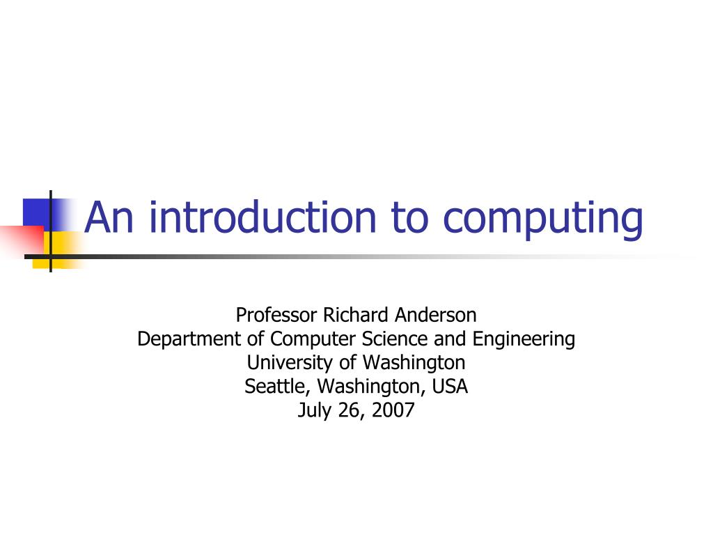 An introduction to computing
