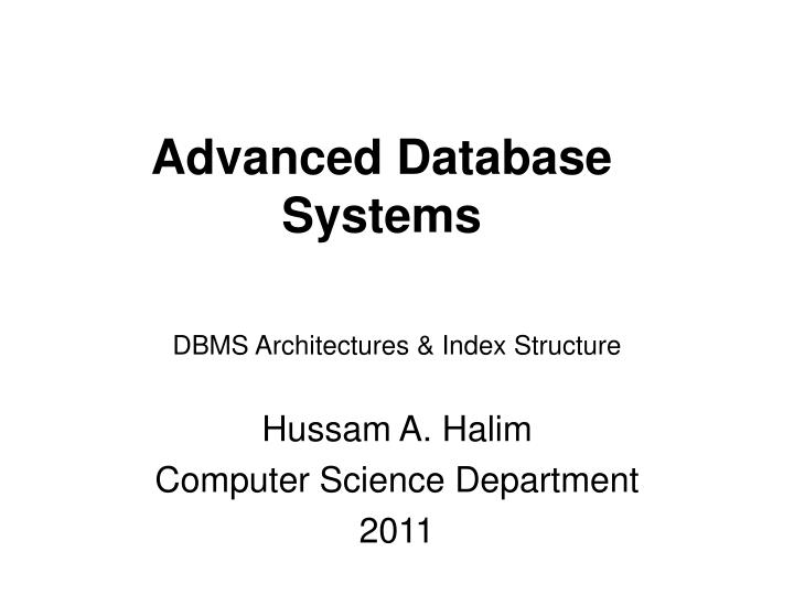 advanced database systems n.