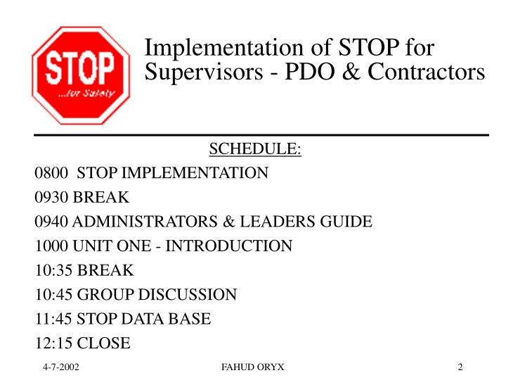 Implementation of stop for supervisors pdo contractors2