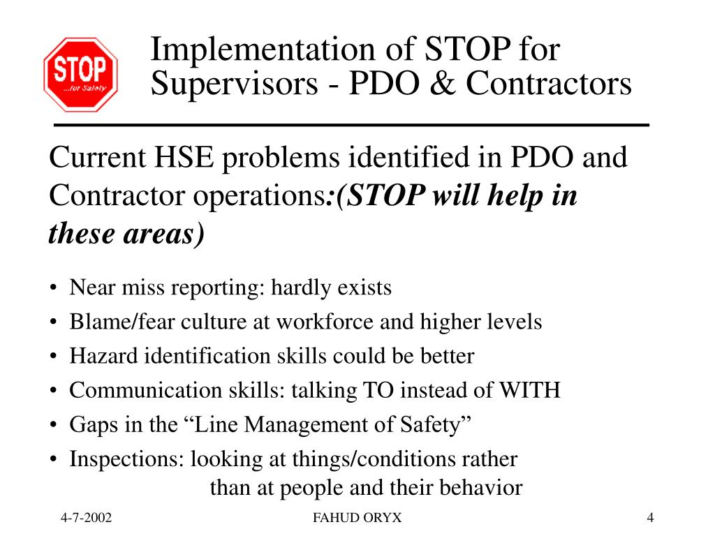 Implementation of STOP for  Supervisors - PDO & Contractors