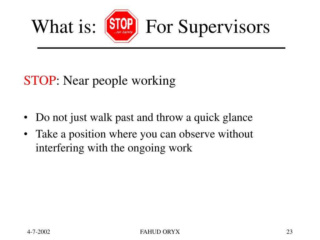 What is:          For Supervisors