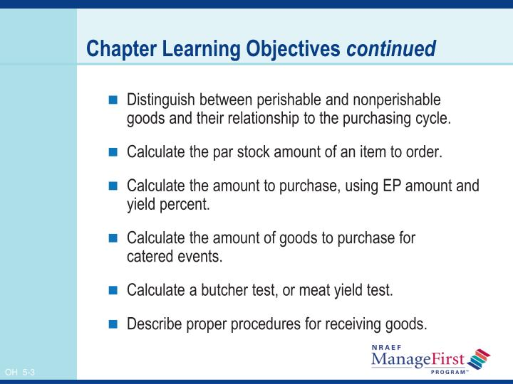 Chapter learning objectives continued