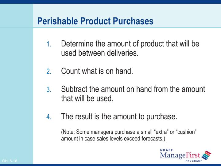 Perishable Product Purchases