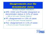 disagreements over the denominator status