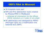 oryx pilot in missouri