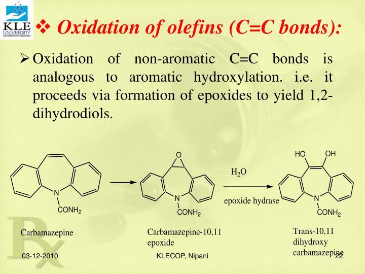 Oxidation of olefins (C=C bonds):