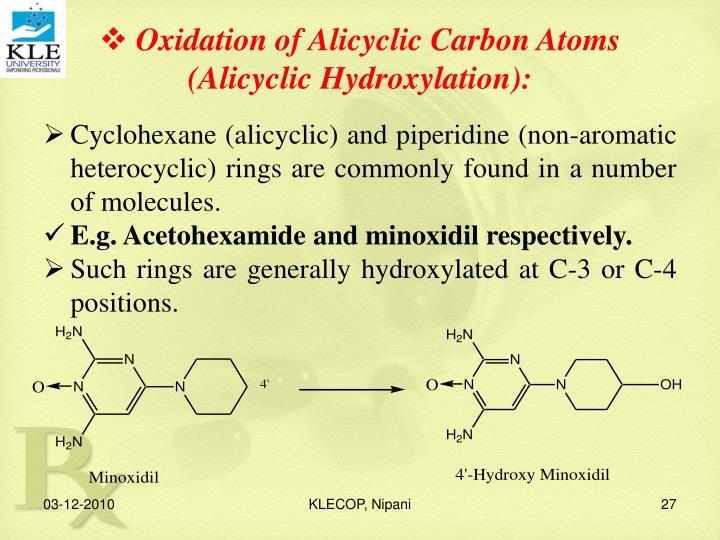 Oxidation of Alicyclic Carbon Atoms