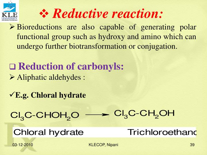 Reductive reaction: