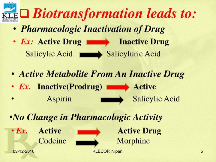 Biotransformation leads to: