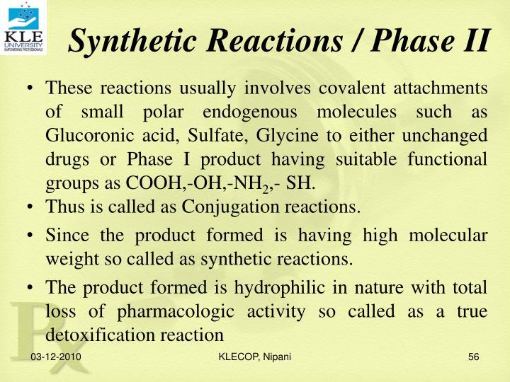 Synthetic Reactions / Phase II